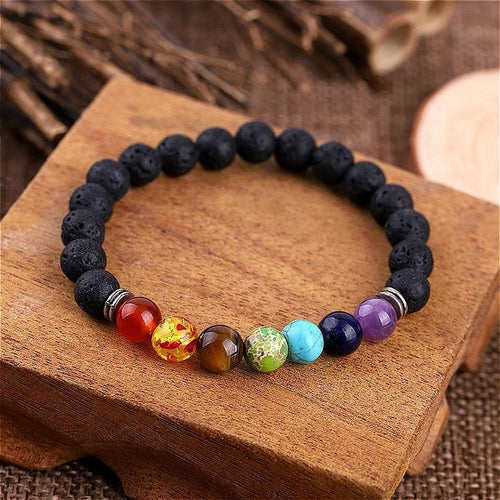 Black Natural Stone Yoga Bracelet SS0160