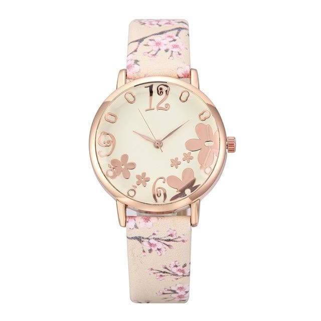 Embossed Flowers Printed Belt Dial Watch SP15031