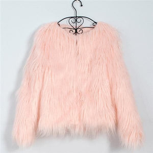 Pink Black Grey Winter Faux Fur Coat SP14758
