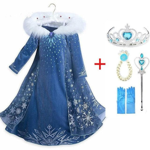 Elsa Cosplay Girl Clothing Anna Snow Queen Print Birthday Princess Dress Kids Costume SS0109