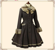 Load image into Gallery viewer, Lolita Sweet Fur Collared Daily Single-breasted Women's Long Coat Custom SP13185