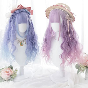 Long Curly Mixed Blue/Purple Pink Ombre Lolita Cosplay Wig SS0446