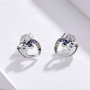 Multicolor Horse Ear Studs 925 Sterling Silver Earring SP14961