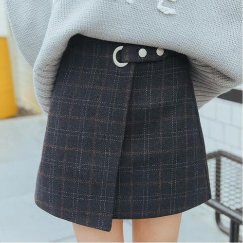 Blue/Brown Woolen Plaid Retro Skirt