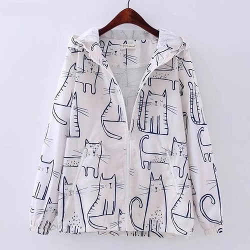 Black/White Kawaii Cat Pot Hoodie Coat