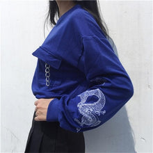 Load image into Gallery viewer, Black/Blue Dragon Embroidery Hoodie Jumper SP14415
