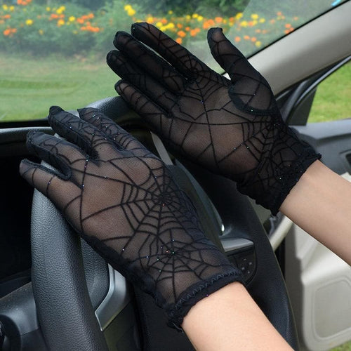 Spider Web Pattern Sunscreen Lace Gloves SP14297