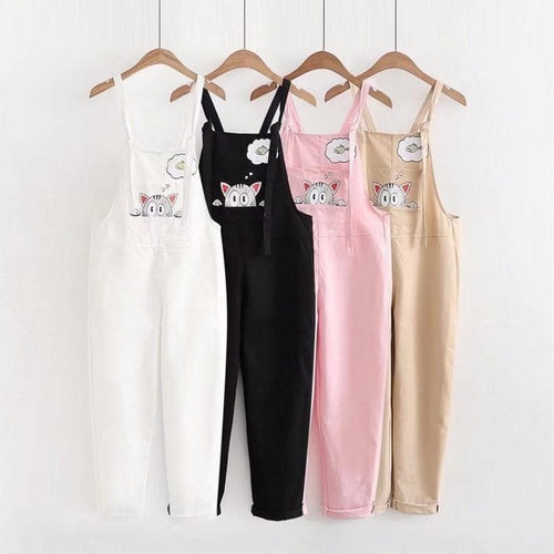 4 Colors Cute Cartoon Cat Printing Embroidered Overalls