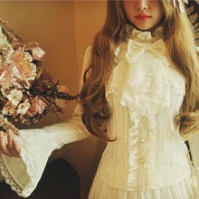Load image into Gallery viewer, Lolita Blouse Empire Style Shirt Slim Lace Bow Royal Trumpet Flare Full Sleeve Shirts SP166970