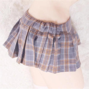 Pink/Black/Grey Sexy Plaid Mini Pleated Skirt SP14524