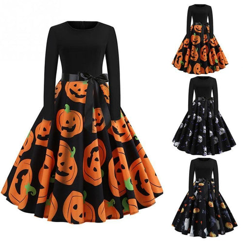 Fancy Pumpkin Printed Halloween Dress SP14237