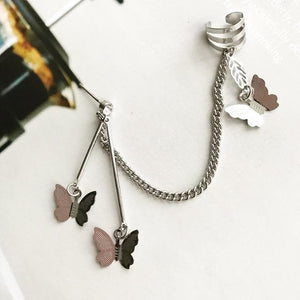Butterfly Fairy Tassel Elegant Cool Unique Ear Bone Clip Silver Dangle Earrings SS0167