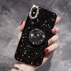 Glitter Marble Diamond  with Ring Holder Phone Case For Iphone  SS067