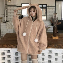 Load image into Gallery viewer, Cute Rabbit Ears Plush Hoodie Coat SP14432