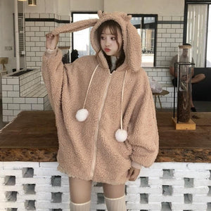 Cute Rabbit Ears Plush Hoodie Coat SP14432