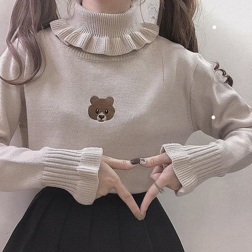 Milk Tea/White/Black Cute Bear Girl Sweater SP14271