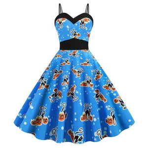 Halloween Skull Print Gothic Dress