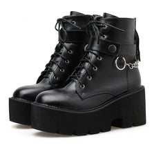 Load image into Gallery viewer, Gothic Chain Strap Lace Up Platform Boots SP006