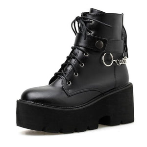 Gothic Chain Strap Lace Up Platform Boots SP006