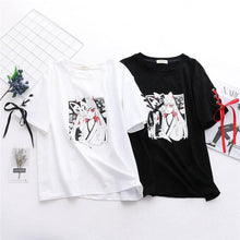 Load image into Gallery viewer, Anime Fox Printed Cross Ribbon Lolita T-shirt SP15024