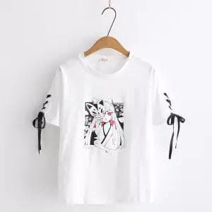 Anime Fox Printed Cross Ribbon Lolita T-shirt SP15024