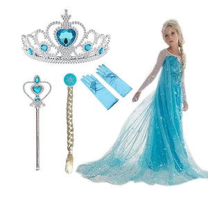 Elsa Dress Girls Princess Set Christmas Cosplay Birthday Party Sky Blue Princess Dress Kids Costume SS0110