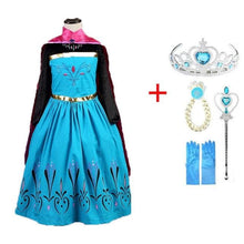 Load image into Gallery viewer, Elsa Dress Girls Princess Set Christmas Cosplay Birthday Party Sky Blue Princess Dress Kids Costume SS0110