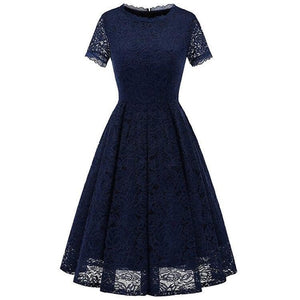 4 Colors Short Sleeve Joint Lace Dress SP14461