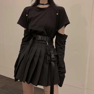 Punk Style Fashion T-Shirt+High Waist Skirt Set SP14990