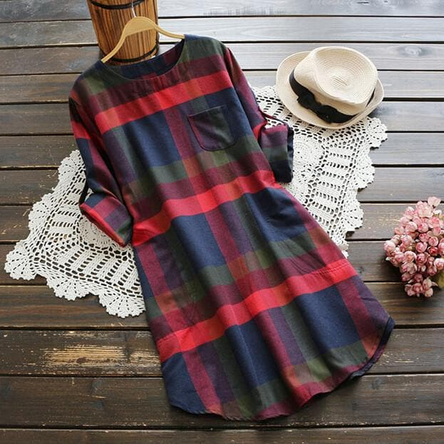 Plaid O-neck Long Sleeve Dress SP167024