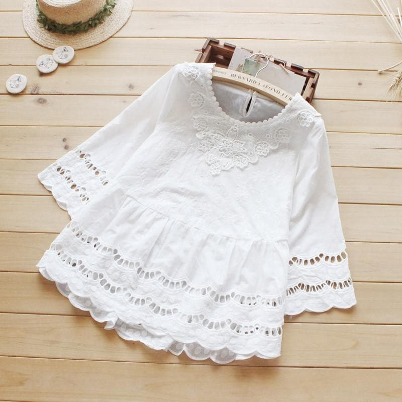 Summer Women Blouse Mori Girl Hollow Out Crochet Lace Cotton White Shirt SP168318