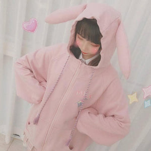 Pink/Purple/Blue Cute Ear Cap Hoodie Coat SP14928