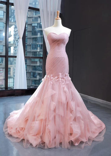 Mermaid Blushing Pink Strapless Wedding Dress SS0104