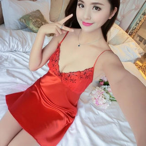 V-Neck Lace Homewear Night Dress SP14655