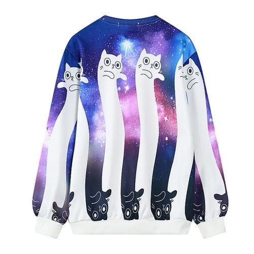 Dancing Cats Galaxy Oversized Pullover Sweater SP168314