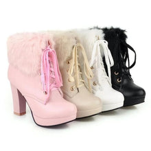 Load image into Gallery viewer, Black/White/Pink/Beige Elegant High-heeled Boots SP14616