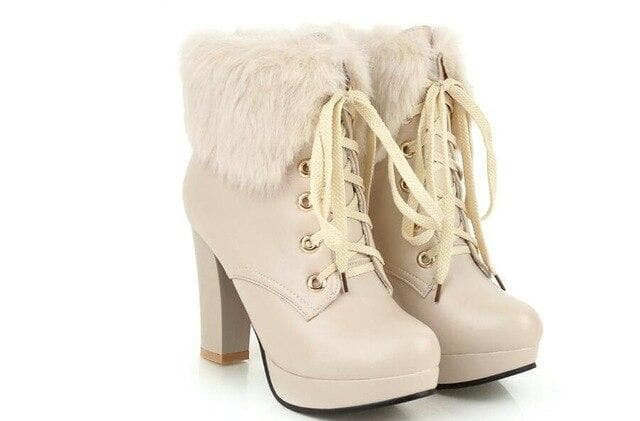 Black/White/Pink/Beige Elegant High-heeled Boots SP14616