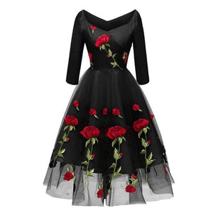 Black/Pink/White Rose Embroidered Dress SP14741 - SpreePicky FreeShipping