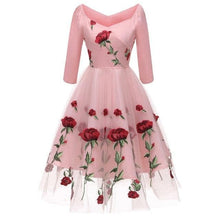 Load image into Gallery viewer, Black/Pink/White Rose Embroidered Dress SP14741 - SpreePicky FreeShipping
