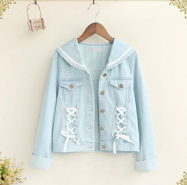 Pastel Blue Bandage Sailor Collar Long Sleeve Preppy Style Denim Jacket Coat SP151728