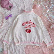 Load image into Gallery viewer, Sweet Strawberry Milk Turtleneck Pullover Sweater SP14838