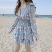 Load image into Gallery viewer, Date Wear Sweet Girls Long Sleeve Ruffled Floral Chiffon Dress SS0942