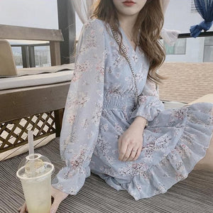Date Wear Sweet Girls Long Sleeve Ruffled Floral Chiffon Dress SS0942