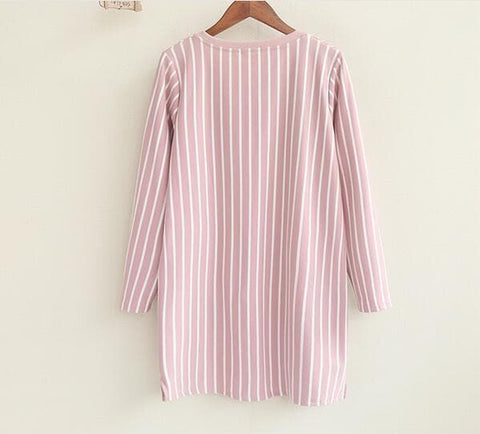 Cartoon Dog Striped  Long Loose T-shirt Dress SP167961