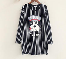 Load image into Gallery viewer, Cartoon Dog Striped  Long Loose T-shirt Dress SP167961