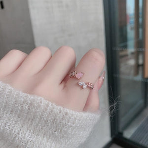Micro-inlaid Crystal Sweet Elegant Flower Ring SP15364