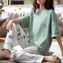 Load image into Gallery viewer, Cute Avocado Embroidered Pajamas Two-piece Set SP14863