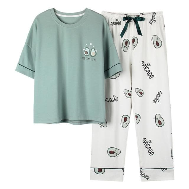 Cute Avocado Embroidered Pajamas Two-piece Set SP14863