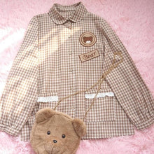 Load image into Gallery viewer, Mori Girl Cute Bear Plaid Preppy Style Long Sleeve Shirt SP15506