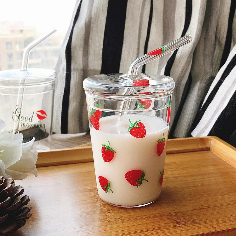 Strawberry Glass Water Cup With Straw SS0279